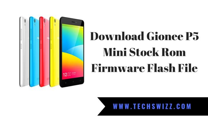 Download Gionee P5 Mini Stock Rom Firmware Flash File