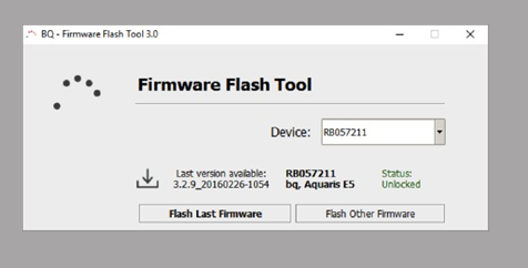 Once the device is unlocked, two flash options display