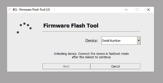 Unlocking device. Connect the device in fastboot mde after the reboot to continue