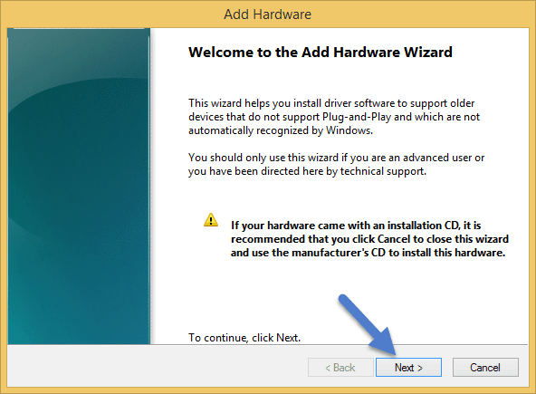 Welcome to the Add Legacy Hardware