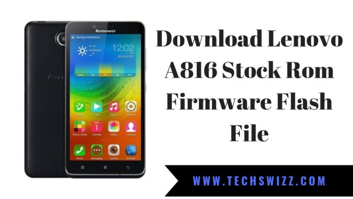 Download Lenovo A816 Stock Rom Firmware Flash File