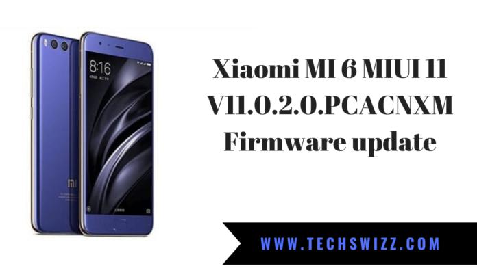 Xiaomi MI 6 MIUI 11 V11.0.2.0.PCACNXM Firmware update