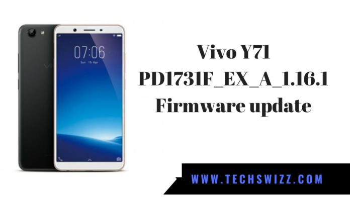 Vivo Y71 PD1731F_EX_A_1.16.1 Firmware update